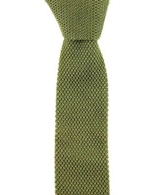 "Mens SANTOSTEFANO Green Skinny Flat Cotton Square End Knit 2"" Neck Tie MSRP $195"