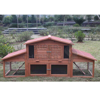 XL Large Wooden Rabbit Hutch Chicken Hen Coop Ferret cage Twin Houses V