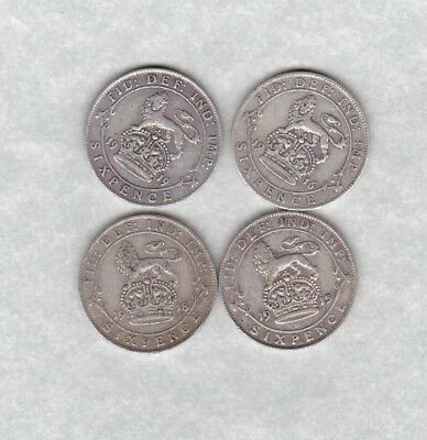 Four Silver Sixpences Dated 1915/1916/1918 & 1919 In Fine Or Better Condition