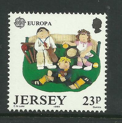JERSEY 1989 EUROPA Single Value Shows CRICKET and RUGBY MNH