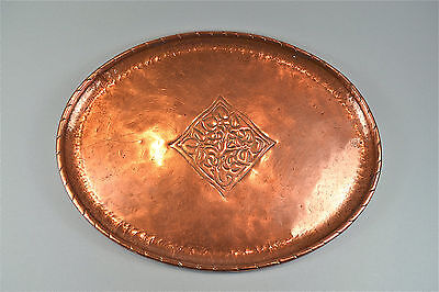 Original Hugh Wallis Arts and Crafts copper tray stylised vines design signed