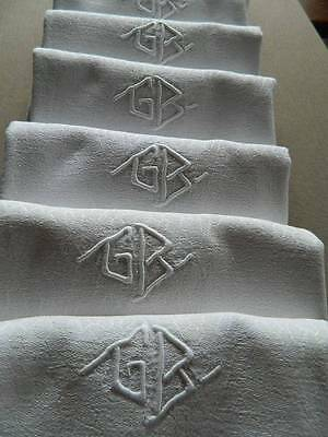 "Antique set 12 French linen damask table napkins - embroidered monogram ""G.B"""