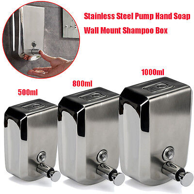500/800/1000ml Stainless Steel Liquid Soap Dispenser Wall Mount Shampoo Box