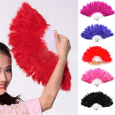 Handmade Chinese Japanese Folding Burlesque Feather Hand Fan For Party Dancing
