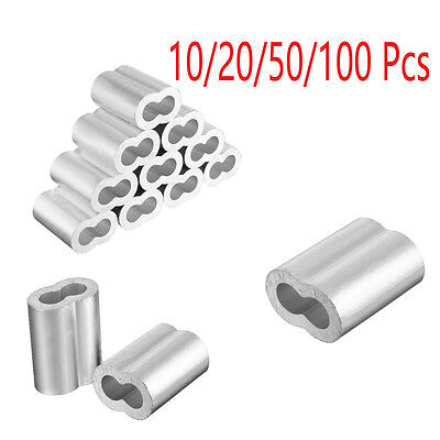 1-12mm Wire Rope Aluminum Sleeves Clip Cable Fitting Crimp Swage 10/20/50/100Pcs