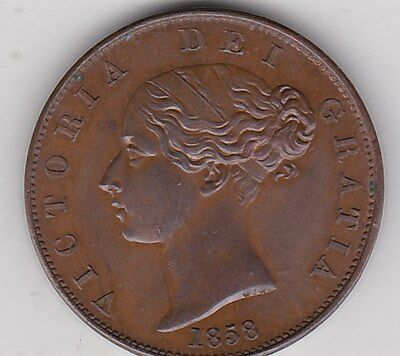 1858 Victorian Young Head Half Penny In Near Mint Condition