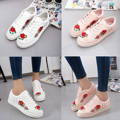 Women's Embroidered Shoes Flower Casual Sneakers Flat Outdoor Running Sport
