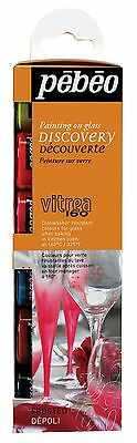 PEBEO VITREA 160 FROSTED GLASS PAINTING 6 x 20ML WATER BASED PAINT CRAFT HOBBY