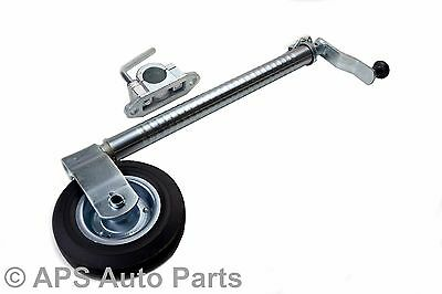 48mm Heavy Duty Ribbed Trailer Caravan Boat Horse Box Jockey Wheel With Clamp