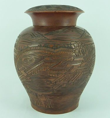 Antique Chinese Hardwood Carved Jar Temple Landscape Calligraphy Tea Caddy Wood