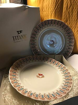 Two 1st Class Titanic Dinner Plates, White Star Line from Mariners' Museum