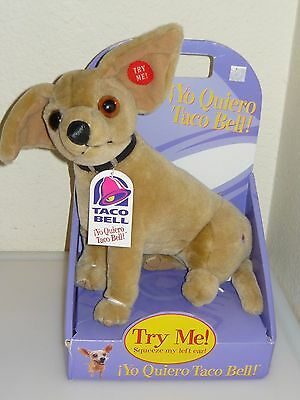 "MIB 1998 Taco Bell Plush 9"" Plush Talking Chihuahua Dog ""Yo Quiero Taco Bell"""