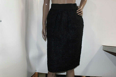 Valentino Women's Size 6 Pleated Mohair/Wool Skirt Black *Pre-owned*