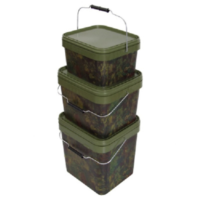 Gardner Carp Fishing - NEW Square Camo Bait Bucket - All Sizes