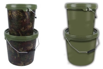 Gardner Carp Fishing - NEW Camo or Green Bait Bucket - All Sizes