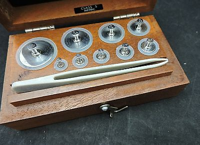Vtg. Class S Calibrated Metric Weights w/ Box-Christian Beckers-1 g to 100 grams