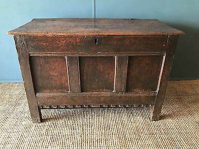 Charming Antique 17th Century Solid Oak Panelled Coffer Blanket Box Linen Chest