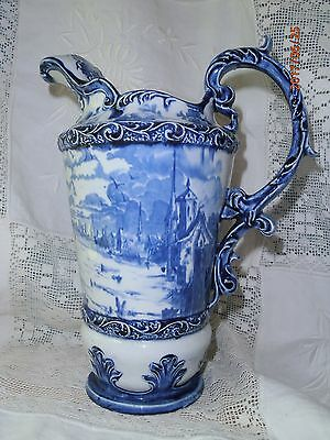Antique Empire Works Deep Blue Pitcher Teapot Windmill Boats Stoke On Trent
