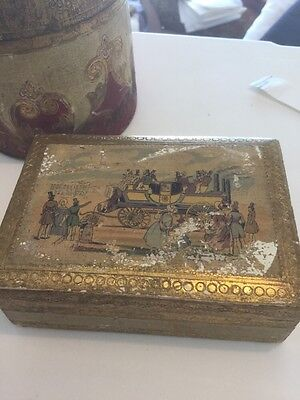 2 Vintage Gold Gilded Boxes Italian  Wooden  Round & Rectangle