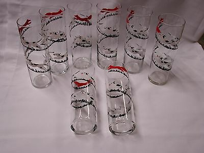 """8 Vintage Libby """" Tally Ho """" Fox And Hound Chase Tall Glasses"""