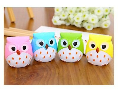 Cute Pack of 2 Cartoon Animal Owl Pattern Double Hole Pencil Sharpeners for kids