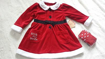 Bnwt.baby Girl Christmas Dress With Matching Tights Age 9-12 Months