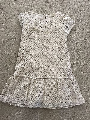 Zara Girls Size 5/6 White Eyelet Lace Dress, Casual Collection Really Pretty