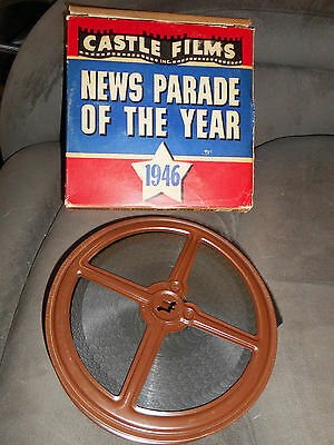 Vintage Castle Films News Parade of the Year 1946 16mm Movie in Box 163 w/ Sound