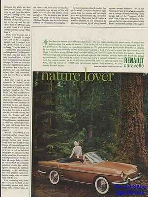 1961 Renault Caravelle Convertible Vintage 1960s Car~Nature Lover Photo Ad