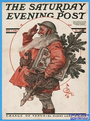 1918 JC Leyendecker Saluting Santa December 7 Saturday Evening Post Cover Only