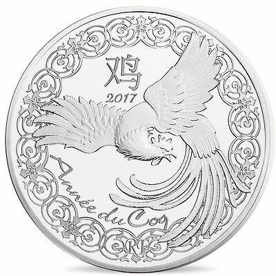 """2017 France 10 Euro Silver Prf Coin """"Lunar Calendar - Year of the Rooster"""" #3970"""