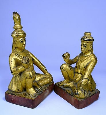 Pair of Antique Burmese Buddhist Monk figures, Rare pair from Burma