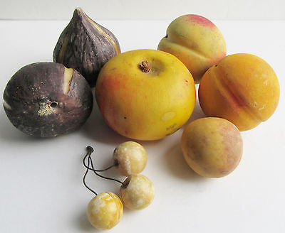 Vintage Carved Stone Fruit Carved and Painted Marble & Alabaster w Cherries
