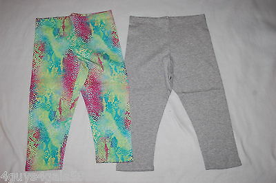 35c7c43cdb526 Girls 2 PR LOT Capri Leggings HEATHER GRAY Green Pink Aqua Abstract Snake M  7-
