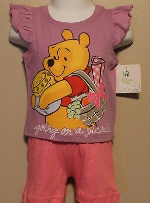GIRLS 12 months Winnie The Pooh Disney 2-piece outfit NWT top & short set