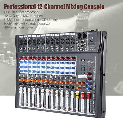 Professional 12 Channel Digtal Mic Line Audio Mixer Console 48V Phantom Power