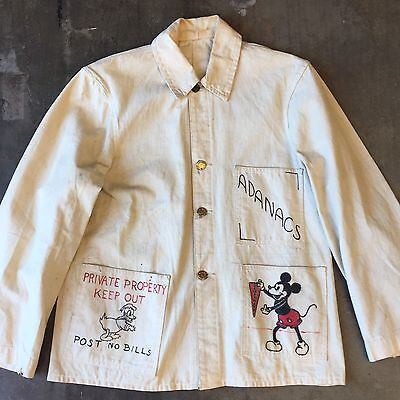 "Vintage 1940's ""dubblewear"" Indian Artwork School Workwear Denim Beer Jacket"