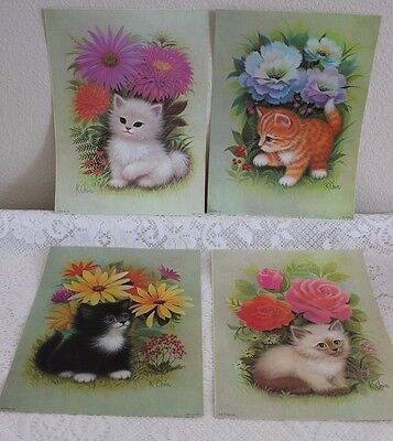4 Vintage K Chin Kitty Cat / Floral Litho Frameable 9X12 Prints