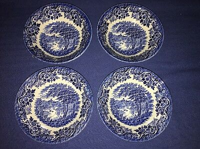 4 Blue Willow Churchill Made in England Dessert Cereal Bowls 6 Inch