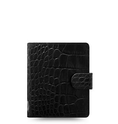 Filofax Classic Croc Pocket Size Organizer/Planner Ebony Color Leather  026074