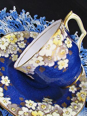 Crown Staffordshire Speckled Blue Gold Floral Tea Cup And Saucer