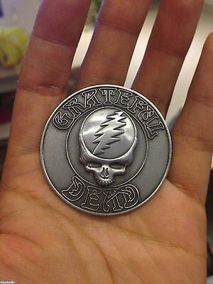3D Grateful Dead  Skull And Lightning Bolt  Antique Pewter Style 2 Inch  Pin