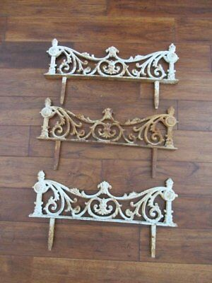 OMG 3 Old Vintage CAST METAL GARDEN FENCE STAKES Chippy White PATINA Ornate!