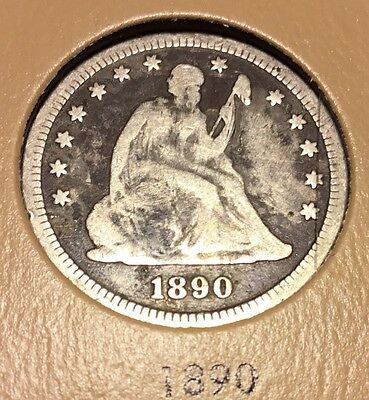 1890 Seated Liberty Quarter Nice Original  GOOD Or Better Coin