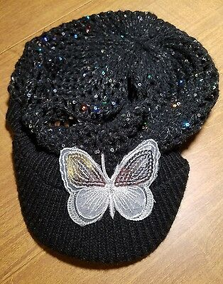Justice Black Butterfly Sparkle Sequin Knit Hat Cap Girls Youth One Size EUC
