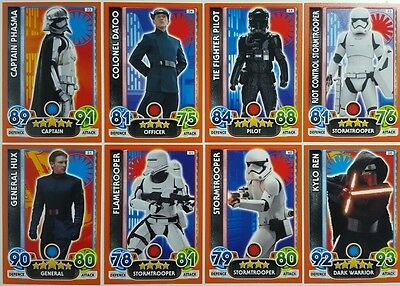 Star Wars FORCE ATTAX EXTRA Trading Card Set  FORCE AWAKENS  1 - 138  topps 2016