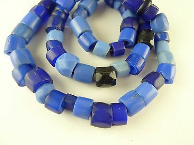"21"" strand mixed faceted cobalt blue glass trade beads old tribal Africa AC-0131"