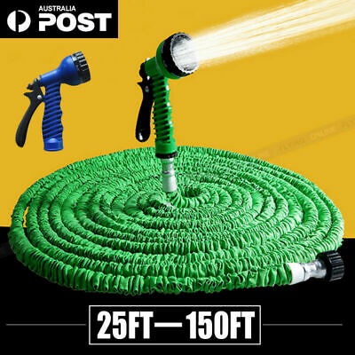 Flexible Expandable Water Garden Hose Pipe 7in1 Spray Gun 25 50 75 100 125 150Ft