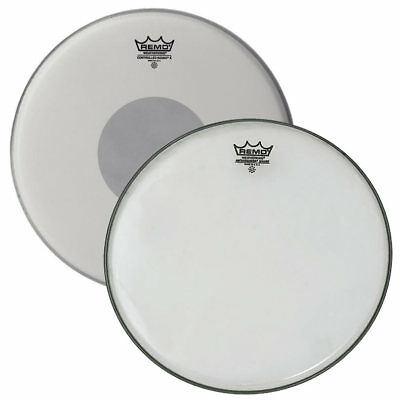 """Remo Ambassador Reso Snare 14"""" + 14"""" Cs X Coated Schlagzeug Fell Set Drums Weiss"""