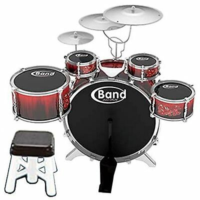 Jazz Rock Drum Kit Cymbal Music Percussion Playset Stool Childrens Toy Xmas Gift